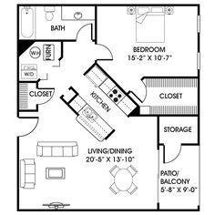Fantastic 16X30 1 Bedroom House 16X30H1 480 Sq Ft Excellent Floor Largest Home Design Picture Inspirations Pitcheantrous