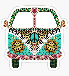 Hippie vintage car a mini van in zentangle style for adult anti stress. Coloring page with high details. Made by trace from sketch. Hippie Chic, Happy Hippie, Hippie Art, Hippie Peace, Combi Hippie, Woodstock, Deco Boheme Chic, Bus Art, Video Games For Kids