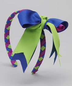 Do --- Lime & Violet Bow Braided Headband & Bow Clip by Pink Laundry Boutique #zulily #zulilyfinds