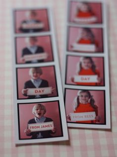 Photobooth inspired Valentines--could also be cute invites to a party or thank you notes