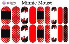 Minnie Mouse Jamberry Nails created in our Nail Art Studio. Perfect for your upcoming Disney trip or just for fun!
