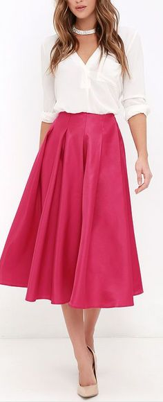Without Question Berry Pink Midi Skirt