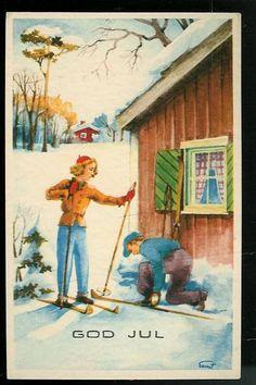 Skitur, julekort fra 30 tallet.