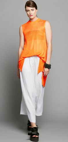 SILKY LONG TANK  - ORANGE