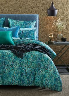 Distinctively luxurious, the Donato quilt cover will add effortless sophistication to your bedroom. Digitally printed to capture the exquisite detail of the beautifully drawn damask pattern, the cotton sateen weave creates a subtle lustre. Bedroom Retreat, Bedroom Inspo, Bedroom Ideas, Bedroom Decor, Peacock Blue Bedroom, Double Quilt, Fantasy Bedroom, Single Quilt, Bed Linen Design