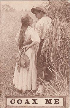 Coax Me 1910s Antique Postcard Wheat Harvest by EphemeraObscura