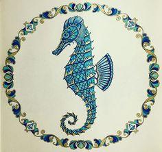 SEAHORSE FROM LOST OCEAN COLORING BOOK #azul #dourado #azuledourado…
