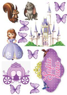 Sofia Birthday Cake, Sofia The First Birthday Party, Minnie Mouse Cake Topper, Princess Cake Toppers, Sofia The First Characters, Princess Sofia Party, Happy Birthday Posters, Birthday Frames, Pictures To Draw