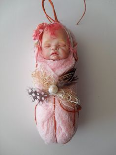 Cotton Candy Pink Fairy Baby by rosannasart on Etsy, $100.00