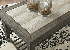 Mavenry Rectangular Cocktail Table Grayish Brown - Signature Design by Ashley Pallet Lounge, Diy Pallet Sofa, Diy Pallet Projects, Pallet Furniture, Pallet Ideas, Pallet Door, Furniture Ideas, Pallet Dining Table, Diy Outdoor Table