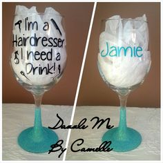 Unique gift for that Hairdresser Hair Stylist Makeup artist! Personalized Glitter Oversized Wine Glass on Etsy, $23.00