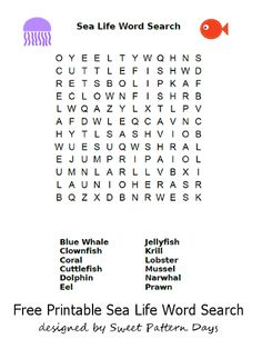 Printable Sea Life Word Search Word Search Puzzles, Life Words, Blue Whale, Free Printables, Back To School, Activities For Kids, Projects To Try, School Ideas, Science