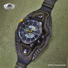 Купить или заказать Часы прототип 2 в интернет-магазине на Ярмарке Мастеров. Кварцево-электронные часы с подсветкой, будильником, секундомером. Водонепроницаемые. Довольно крупные. Браслет покрашен, состарен. прошит желтой ниткой в цвет…