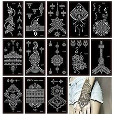 Henna Tattoo Stencil/Glitter Temporary Tattoo Temples Set of 30 Sheets, Indian Henna Tattoo Sticker Kit For Body Art Painting Beauty. Choose the design you want and peel off white backing. Make sure the skin is dry before applying the sticker. Henna Tattoo Stencils, Henna Tattoo Hand, Airbrush Tattoo, Henna Body Art, Diy Tattoo, Body Art Tattoos, Type Tattoo, Black Tattoos, Thigh Tattoos