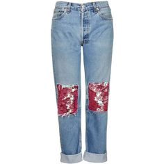 Sequin Patch Jeans By Topshop Finds ($83) ❤ liked on Polyvore featuring jeans, blue jeans, sequin jeans, topshop, patched jeans and topshop jeans
