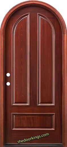 Mahogany round top door. Stained red mahogany.  www.thedoorkings.com