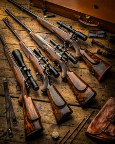 bolt action rifle chambered in Winchester, in , in HH Magnum and a W. Lever Action Rifles, Bolt Action Rifle, Weapons Guns, Guns And Ammo, Rigby Rifle, 243 Winchester, Custom Guns, Military Guns, Hunting Rifles
