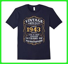 Mens Vintage Born in 1943 74th Birthday T-Shirt 74 Years Old Medium Navy - Birthday shirts (*Amazon Partner-Link)