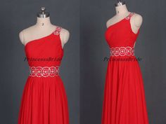 2015 long red chiffon prom dresses with rhinestones,cheap elegant homecoming dress,floor length one shoulder gowns for holiday party. by PrincesssBride on Etsy https://www.etsy.com/listing/191062082/2015-long-red-chiffon-prom-dresses-with