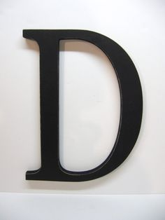 Wood Letter D Sign  15 Inch  Painted Black  by DimeStoreVintage, $24.99