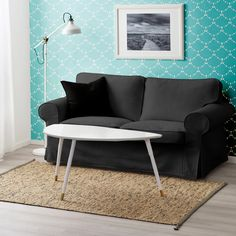 IKEA EKTORP Sofa Slip Cover, Solid Linen Black | affordable, designer, custom, handmade, trendy, fashionable, locally made, high quality