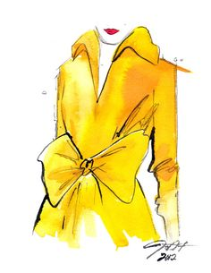 The Yellow Trench print version, Watercolor Fashion Illustration, by Jessica Durrant