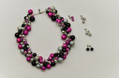 Pink, black, grey, silver statement necklace and earrings