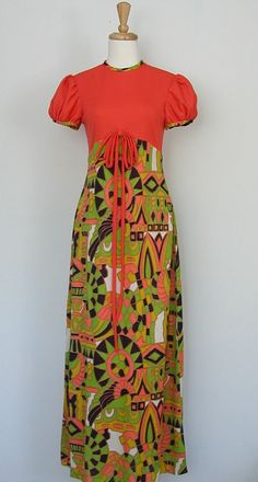 1970's Dress  orange maxi party dress empire by roguegirlvintage, $34.00