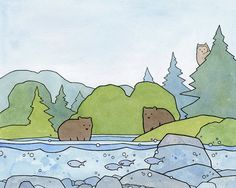 An illustration print of two bears in a stoney stream with fish. Surrounded by trees of varying shades of green and a peeking owl. Whimsically drawn with ink and watercolors. - Fine art print - Printed on etching rag art paper - Optional matting is white and acid-free - Hand signed and