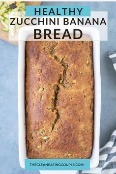 Healthy Zucchini Banana Bread Recipe is an easy treat everyone will love! Add chocolate chips or turn into muffins with this versatile dessert! Healthy Bread Recipes, Healthy Muffins, Healthy Breakfast Recipes, Snack Recipes, Healthy Eating, Zucchini Banana Bread, Healthy Zucchini, Clean Eating Breakfast, Breakfast Snacks