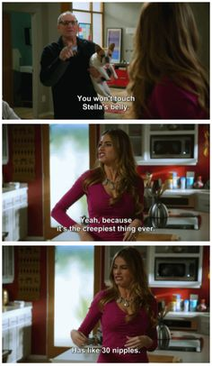 """When she described Stella's belly. 