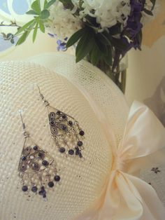 geometric earrings with snowflake obsidian
