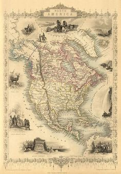 Antique North America map Print 16 x 23 by AncientShades. CAN YOU READ THE NAME WELL of the map?? America is a CONTINENT not a country as you think.