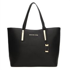 New Arrival Michael Kors Jaryn Large Leather Shoulder Tote Black