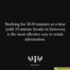 50-10 Rule! 50 minutes of work and a 10 minute study break. Repeat. Works for finals and midterm season :)