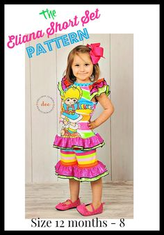 Eliana Ruffled Short Set PDF Sewing Girls Upcycle Pattern Sizes 12m - 7/8  Instant Download with Video Tutorials by Little4Awhile on Etsy https://www.etsy.com/listing/190625932/eliana-ruffled-short-set-pdf-sewing
