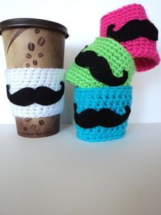 Items similar to Crochet Mustache Cup Cozy, Mug Cozy, Tea Cozy, Coffee Cozy, Mustache Party on Etsy Crochet Coffee Cozy, Coffee Cup Cozy, Crochet Cozy, Crochet Crafts, Yarn Crafts, Crochet Projects, Tea Cozy, Coffee Girl, Winter Coffee