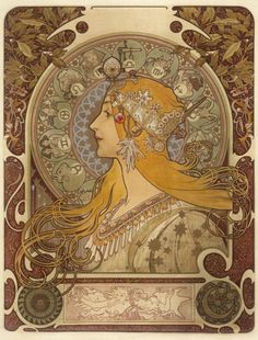 Alphonse Mucha (Moravia, active France, 1860-1939), Zodiac, 1896, Kurt J. Wagner, M.D. and C. Kathleen Wagner Collection