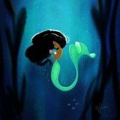 Mermaid Art Print by Vashti Harrison - X-Small Mermaid Canvas, Mermaid Artwork, Mermaid Drawings, Siren Mermaid, Black Mermaid, The Little Mermaid, Black Girl Art, Black Women Art, Disney Art