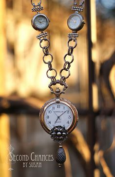 """""""Watch"""" me work.. Gorgeous pendant necklace made from old watch parts."""