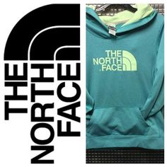 Aqua & lime green northface hoodie Size women's large in good condition minor cracking as shown The North Face Sweaters