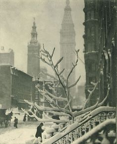 Two Towers - New York - Alfred Stieglitz (American, Hoboken, New Jersey New York) 1911 Edward Steichen, Alfred Stieglitz, Brooklyn Bridge, A New York Minute, Voyage New York, New York Pictures, Snowy Pictures, Photocollage, New York Art