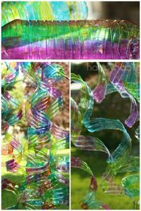 WATER BOTTLE WIND SPIRALS: So easy to make, so gorgeous, and you should see the way they bounce and dance in the wind!