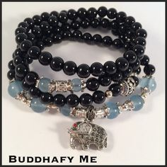 Black Agate and Jade Bracelet/necklace with Tibetan silver Elephant and beads by Buddhafy Me