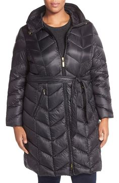 Ellen Tracy Chevron Quilted Down Coat (Plus Size) available at #Nordstrom