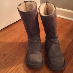 Ugg Knightsbridge boots Light grey ugg Knightsbridge boots.  These boots have been through two Chicago winters.  The have water stains on the front and the suede is not super soft anymore.  The fleece on the sole is worn down but the rest is fluffy. UGG Shoes Winter & Rain Boots