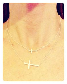 Our tiny POSH collection begins with this sideways cross necklace. Sterling silver clasps at 16\