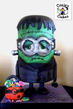 Frankenminion A Frankenstein Minion mashup cake for Halloween