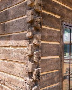 Log Cabin Siding, Log Cabin Exterior, Stone Exterior Houses, Log Cabins, Concrete Siding, Barn House Design, Dove Tail, Exterior Cladding, Little Houses