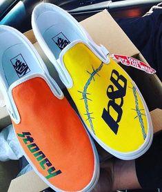 post malone stoney/b&B custom vans - - Custom Slip On Vans, Customised Vans, Custom Vans Shoes, Vans Slip On, Post Malone, Painted Vans, Painted Shoes, Painted Clothes, On Shoes